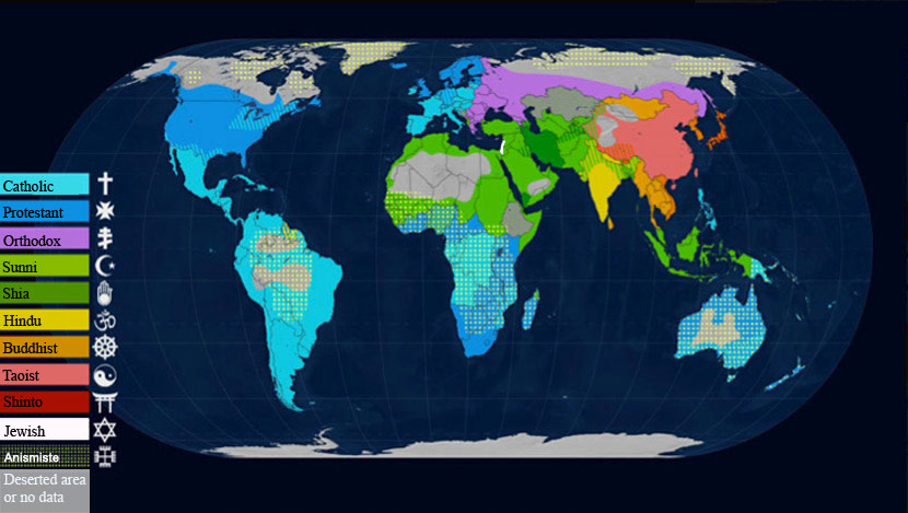 Map of different majority religions and beliefs in the world arte